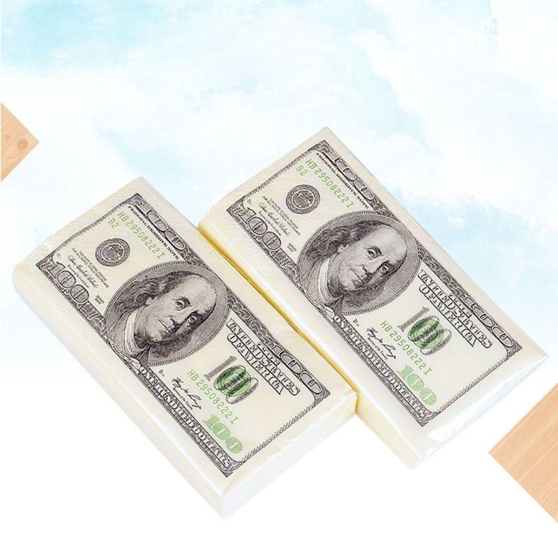 10 Packs Creative Napkin Paper 100 Dollar Raw Wood Pulp Facial Tissue Handkerchief Wedding Birthday Disposable Party Tableware