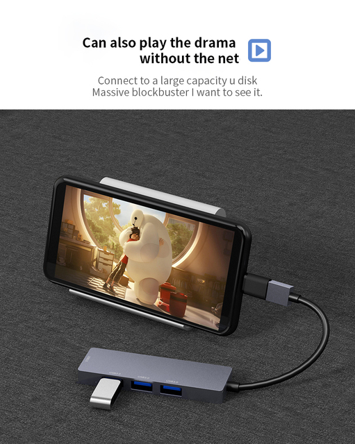 USB3.0 HUB Docking dock Type C to HDMI Adapter For smart phone Computer HDTV Laptop U disk hard disk USB-C PD fast charging 2