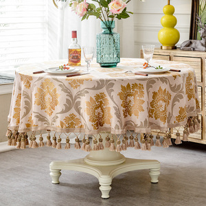 Image 2 - European style Luxury jacquard Tablecloth With Tassel for Wedding Birthday Party Round Table Cover Desk Cloth for home decor