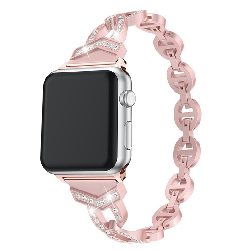 Suitable For APPLE Watch1234 S Universal Ov-Shaped Diamond Set Fashion Smart Quick Release Buckle Watch Strap