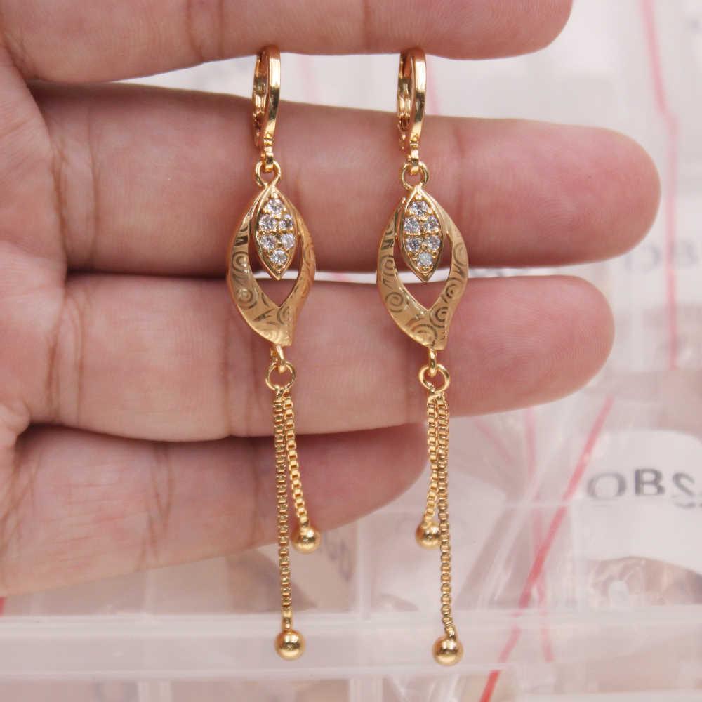Pendientes colgantes bohemios de lujo para mujer pendientes llenos de oro zircon joyería de moda para fiesta accesorios de boda regalo