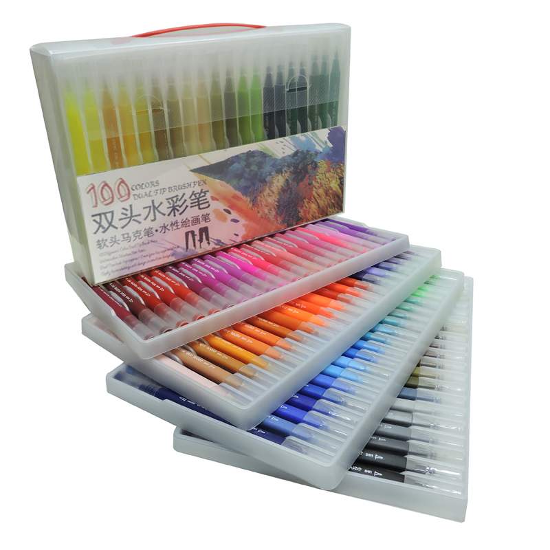 100PCS Colors Dual Tip Brush Marker Pens FineLiner Drawing Painting Watercolor Art Brush Pen School Markers Pen Art Supplies