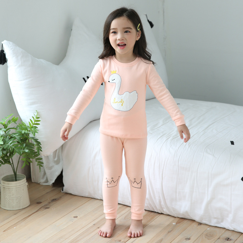 Korean-style Children Pajamas Autumn And Winter New Style Thick Children Tracksuit Cotton Base Baby Thermal Underwear