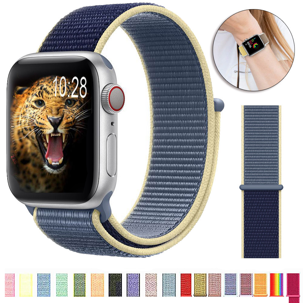 Breathable Band For Apple Watch Series 4 3/2/1 Bands 38mm 42mm Nylon Soft Replacement Sport Loop For Iwatch 4 3 2 1 40mm 44mm