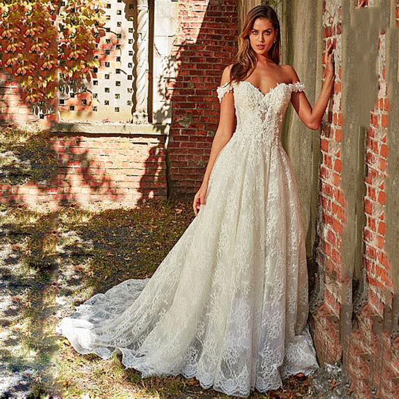 Robe De Mariee Lace Wedding Dresses Sweep Train Off The Shoulder Appliques Tulle Bride Dress For Wedding Vestido De Novia 2019