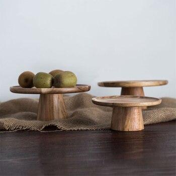 Деревянная тарелка для торта с высокой подставкой, креативные подносы для сервировки еды, многоцелевой экологичный фруктовый десерт из наурального дерева, поднос для закусок, домашний декор