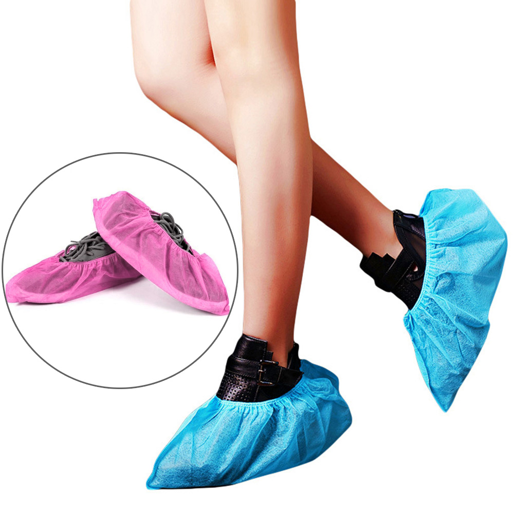 Disposable Shoe Covers Boot Cover Non-Slip For Home Non-woven Fabrics Portable One Size 100Pcs