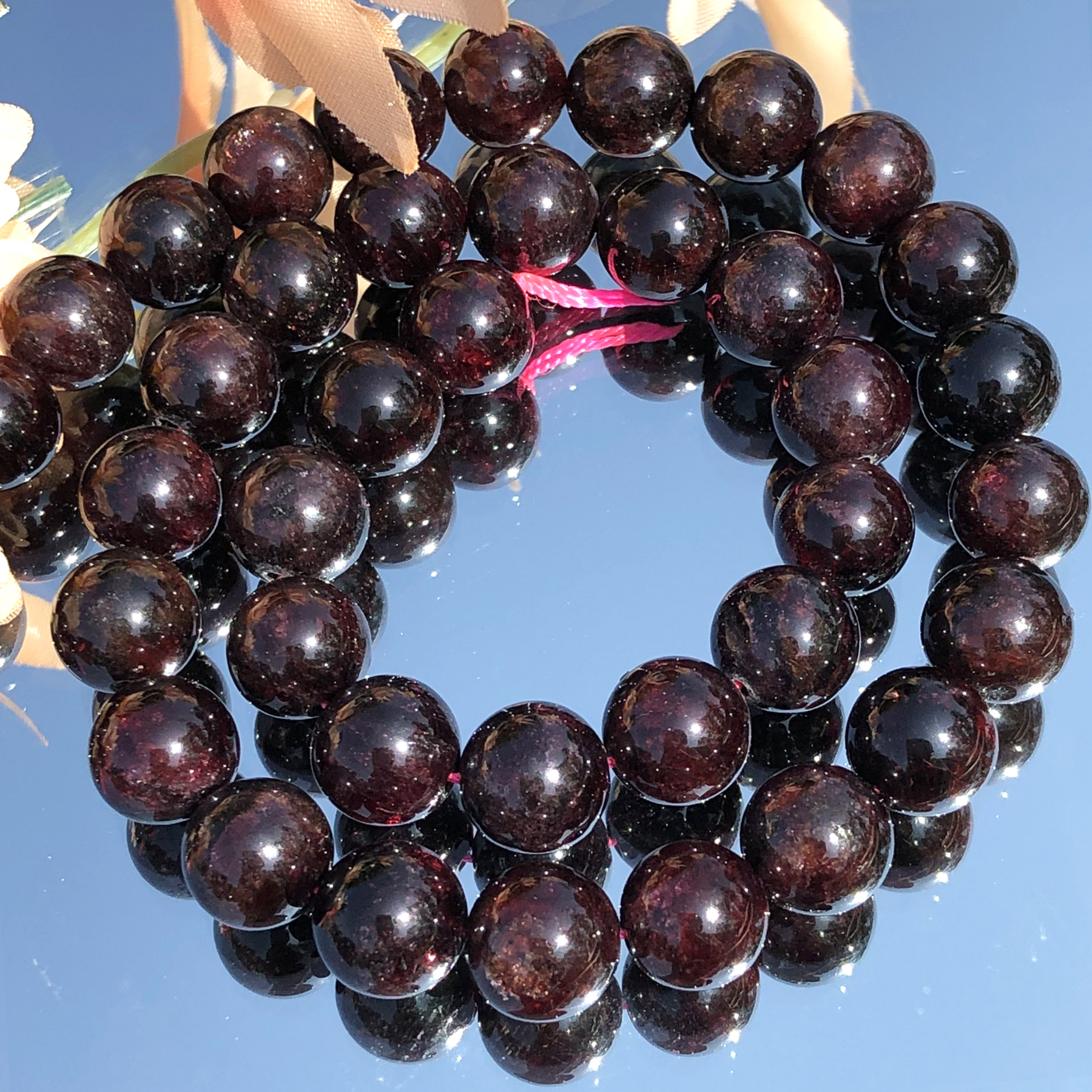 AAA Natural Dark Red Garnet Stone Bead Round Loose Spacer Beads For Jewelry Making DIY Bracelet Necklace 15