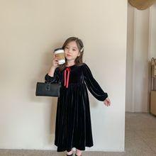 Fall New 2020 Kids Dresses for Girls Clothes Baby Princess Dress Elegant Children Midi Dress Toddler Party Dress Velvet,#5404