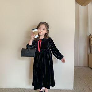Image 1 - Jesień nowe 2020 sukienki dla dzieci dla dziewczynek ubrania dla dzieci Princess Dress eleganckie dzieci Midi sukienka maluch Party Dress Velvet,#5404