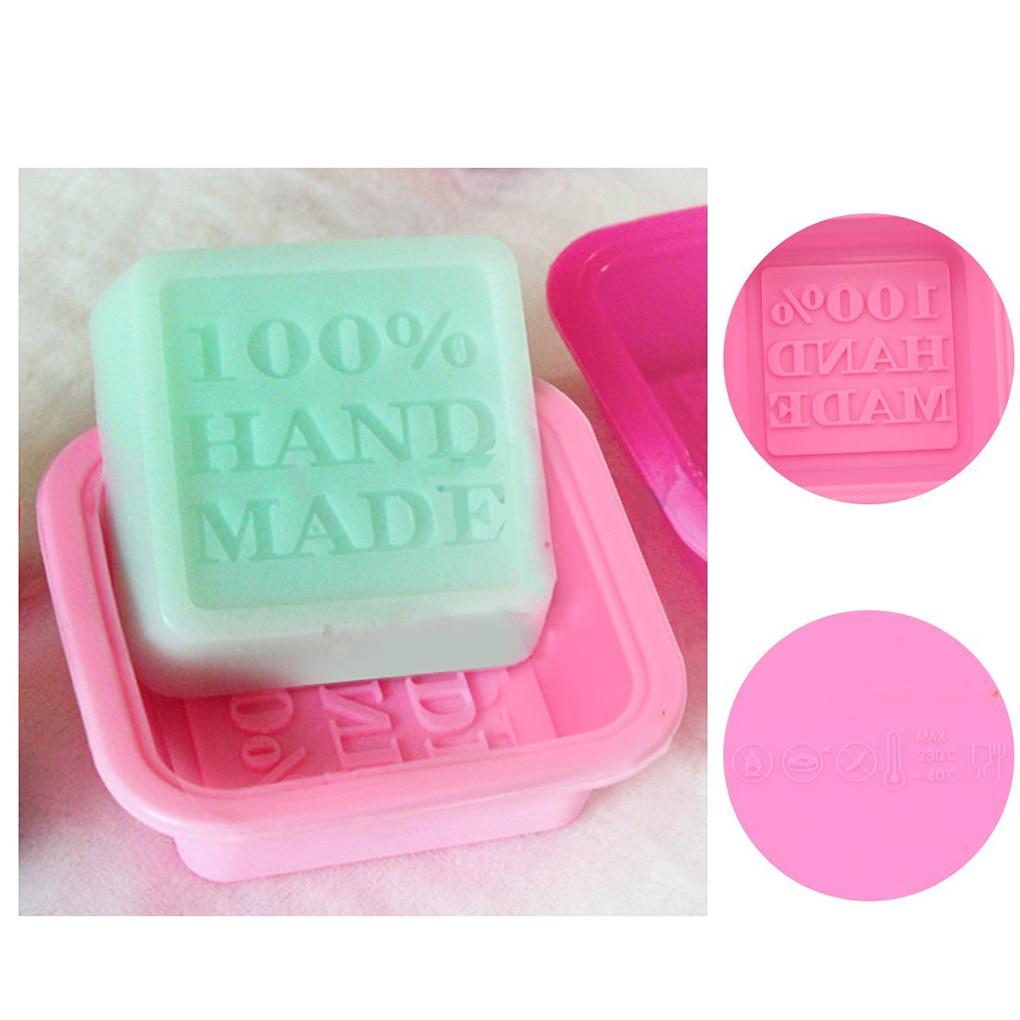 3D Square Shape Design Handmade DIY Silicone Mold Soap Mold Fondant Cake Decorating Tools Soap Making Random Color