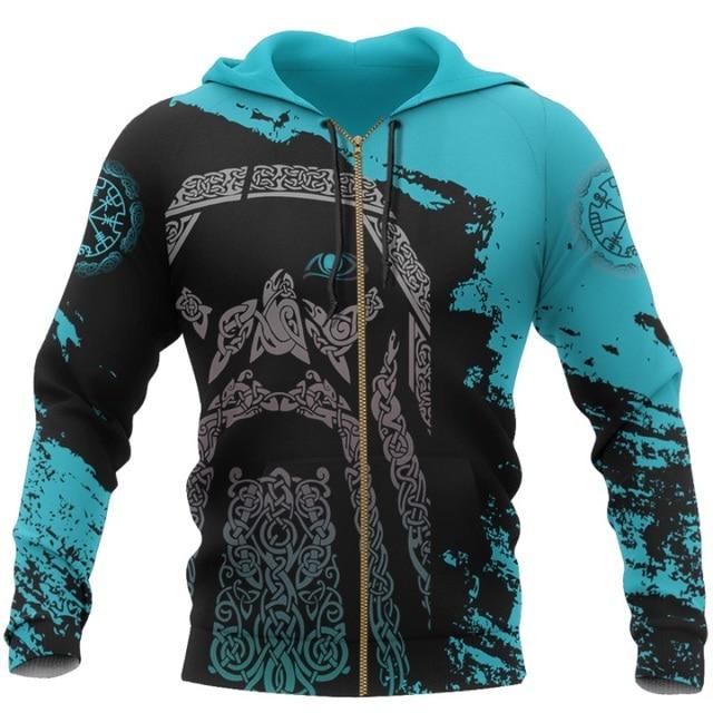 Viking Odin - Blue Pullover Tattoo 3D Hoodie 3