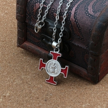 2pcs Red Enamel ST Saint Michael Cruz religious medal Religious Pendant Necklaces 23.6inches 25x35mm Pendant A-512d gdrgyb 2019 st anthony of padua saint necklace st anthony jewelry cabochon religious religious gift necklace