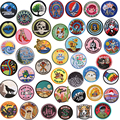 Round Landscape Mount Fuji Iron On Patches Embroidered Applique for Jacket Clothes Stickers Badge DIY Tree Apparel Accessories