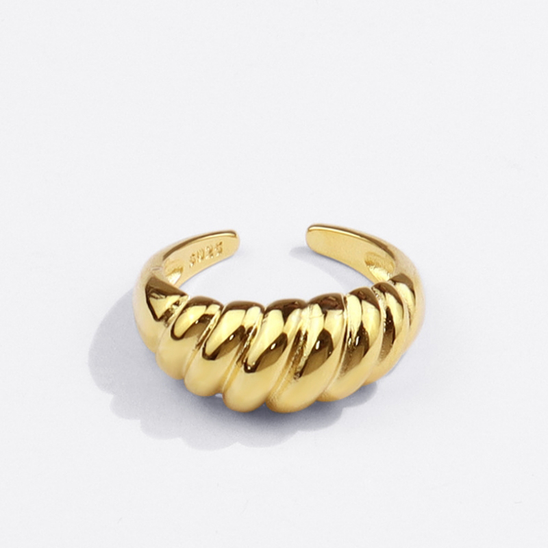 New Gold Color Silver Color Twisted Croissants Threads Geometric Open Rings for Women 18K Minimalist Chunky Vintage Jewelry