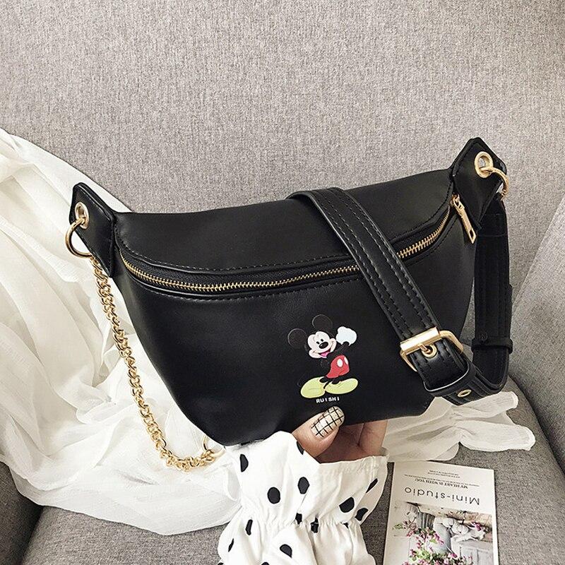 mulheres bonito mickey cinto sacos moda crossbody