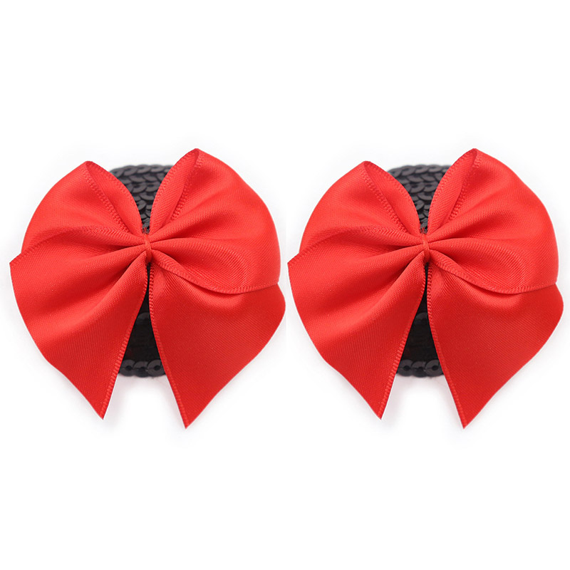 1 Pair Sexy Sequin Nipple Cover With Red Bowknot Women Temptation Nipple Stickers Covers Reusable Silicone Pasties