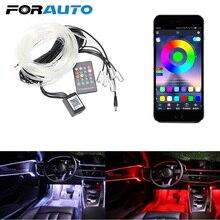 Lámpara de ambiente con Control remoto, tira de luz LED RGB, cable Flexible, luz decorativa automática, lámpara de ambiente para coche, luz Interior para coche