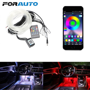 цена на Remote Control Ambient Lamp RGB LED Strip Light Flexible EL Wire Auto Decorative Light Car Atmosphere Lamp Car Interior Light