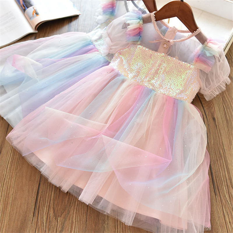 2020 New Kids Dresses for Girls Short Sleeve Dress Sequined Party Costume Fairy Summer Puffy Dress Rainbow Children Clothing 1