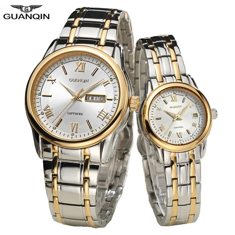 GUANQIN Couple Watches Set Luxury Stainless Steel Men Women Lovers Watch Date Week Men Ladies Wrist Watch Quartz Watches Clock
