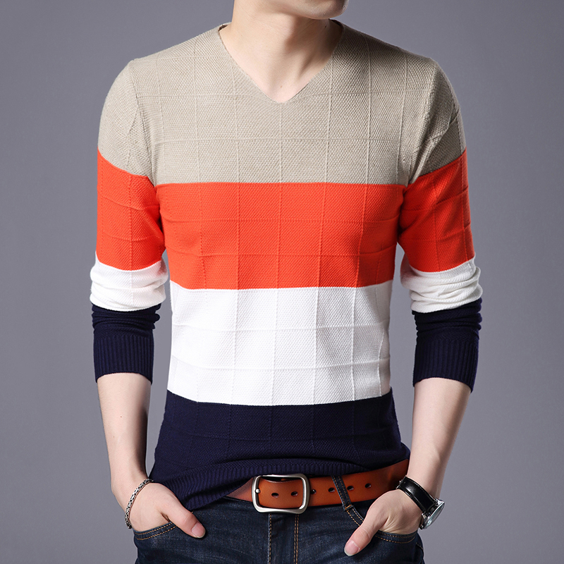 WENYUJH 2019 Autumn  Men's Pullover Striped Sweater Thick Winter Warm Knitted V-Neck Sweaters Mens Wear Slim Fit Knitwear