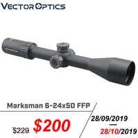 Marcador óptico de Vector 6-24x50 FFP rifloscopio táctico 1/10 MIL Min enfoque 10 Yds Primer plano Focal Rifle de caza. 338 de vuelta