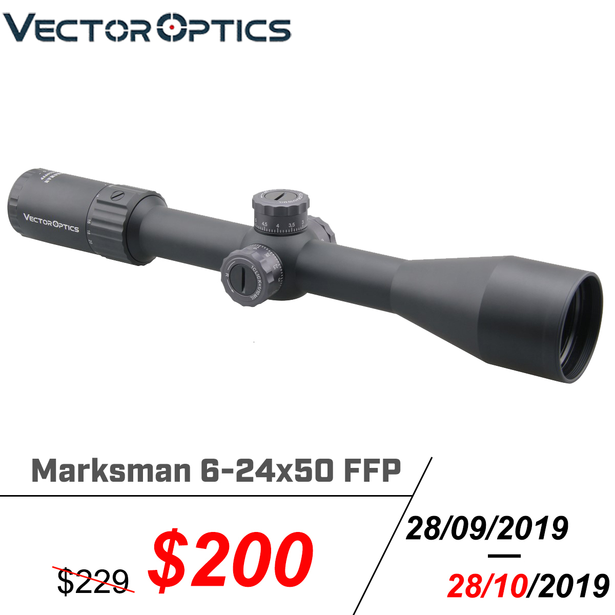 Vector Optics Marksman 6-24x50 FFP Tactical Riflescope 1/10 MIL Min Focus 10 Yds First Focal Plane Hunting Rifle Scope .338 Lap