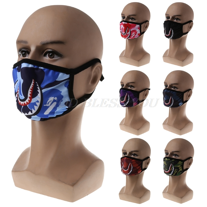 1PC Cartoon Fashion Mask Shark Mouth Print Dustproof Anti-pollen Personality Mask Unisex European And American Street Mask