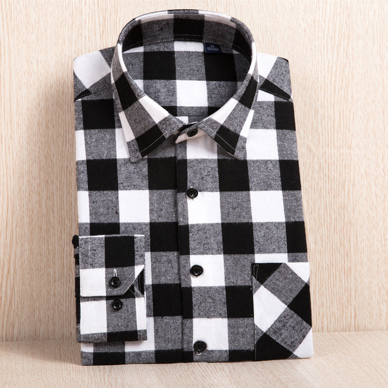 Flannel Men Plaid Shirt Slim Fit Casual Long Sleeve Sanding Shirt Spring Autumn Male Social Dress Shirts Soft Comfort 4XL 3XL