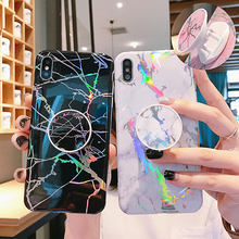 For iPhone XR 8 XS XSMax X 6 6S 7 Plus Case Glossy Phone Cases For iPhone 11 Pro Max Cover Marble  Grip Stand Holder Funda Coque laser marble finger ring holder phone cases for iphone 11 pro max case cover funda for iphone 7 8 6 6s plus xs max xr case coque