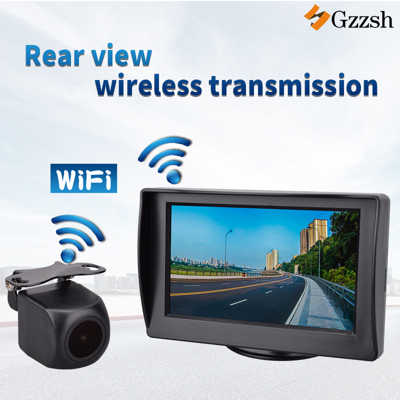 Built-in wireless transmission reverse camera hd and 4.3 inch monitor for BMW Toyota Audi Mercedes Benz special rear view camera image
