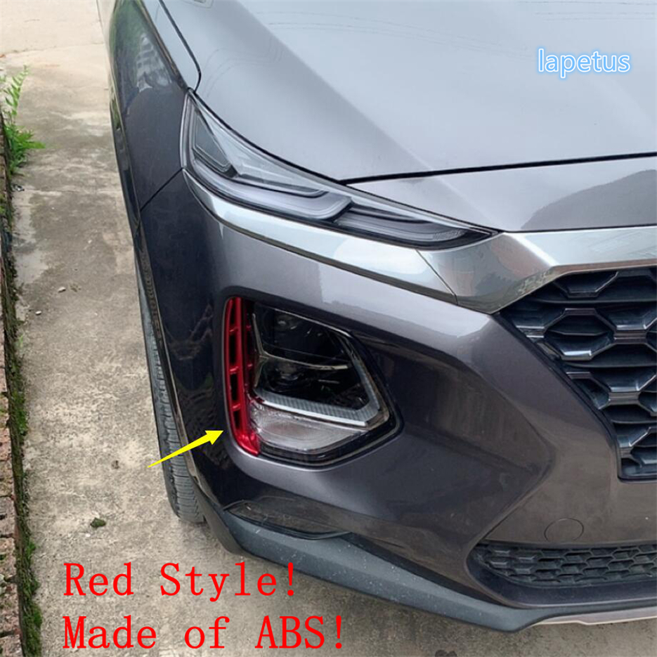 Lapetus Front Fog Lights Lamp Eyelid Eyebrow Decoration Overlay Strip Cover Trim 2 Pcs Fit For <font><b>Hyundai</b></font> <font><b>Santa</b></font> <font><b>Fe</b></font> <font><b>2019</b></font> 2020 ABS image