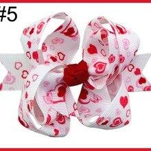 60 шт., 3,5 дюйма, милые аксессуары для волос на День святого Валентина, нашивка в виде сердца, ленты, заколки для волос для девочек/детей