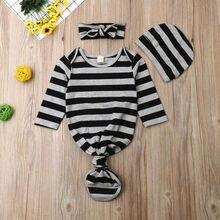 Осенний комплект для новорожденных с длинными рукавами в полоску для завёртывания для пеленания спальный мешок повязка на голову