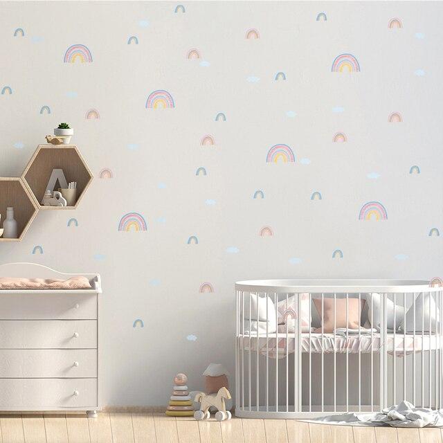 מדבקות עננים וקשת וענן עשוי PVC עמיד מים, לקישוט חדרי ילדים 1