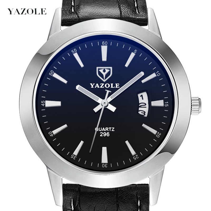 YAZOLE Quartz hommes montres bracelet en cuir Date étanche Liminous mains mode 8mm Ultra mince montre-bracelet pour hommes montre-bracelet