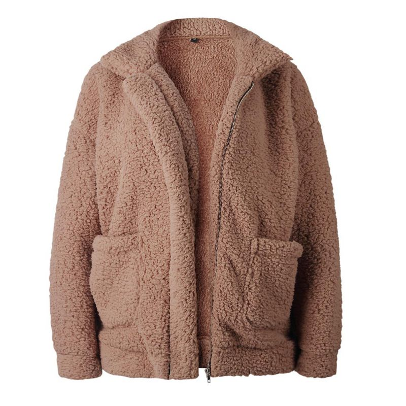 Elegant Faux Fur Coat Women 18 Autumn Winter Warm Soft Zipper Fur Jacket Female Plush Overcoat Pocket Casual Teddy Outwear 37