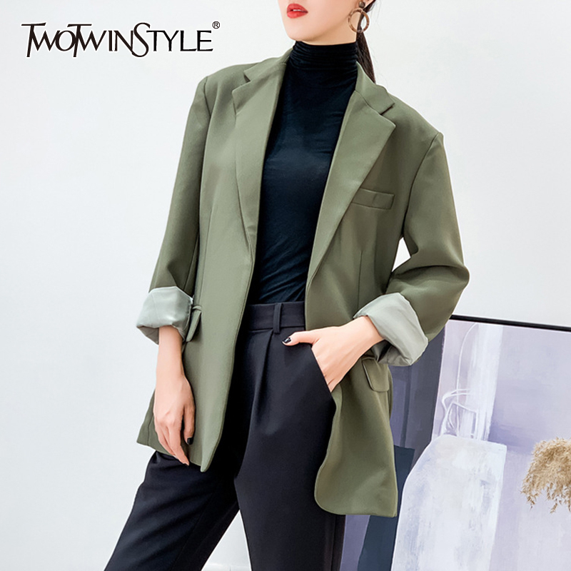 TWOTWINSTYLE Elegant Patchwork Pocket Blazer Women Notched Long Sleeve Oversize Loose Korean Female Suits 2020 Fashion Clothes