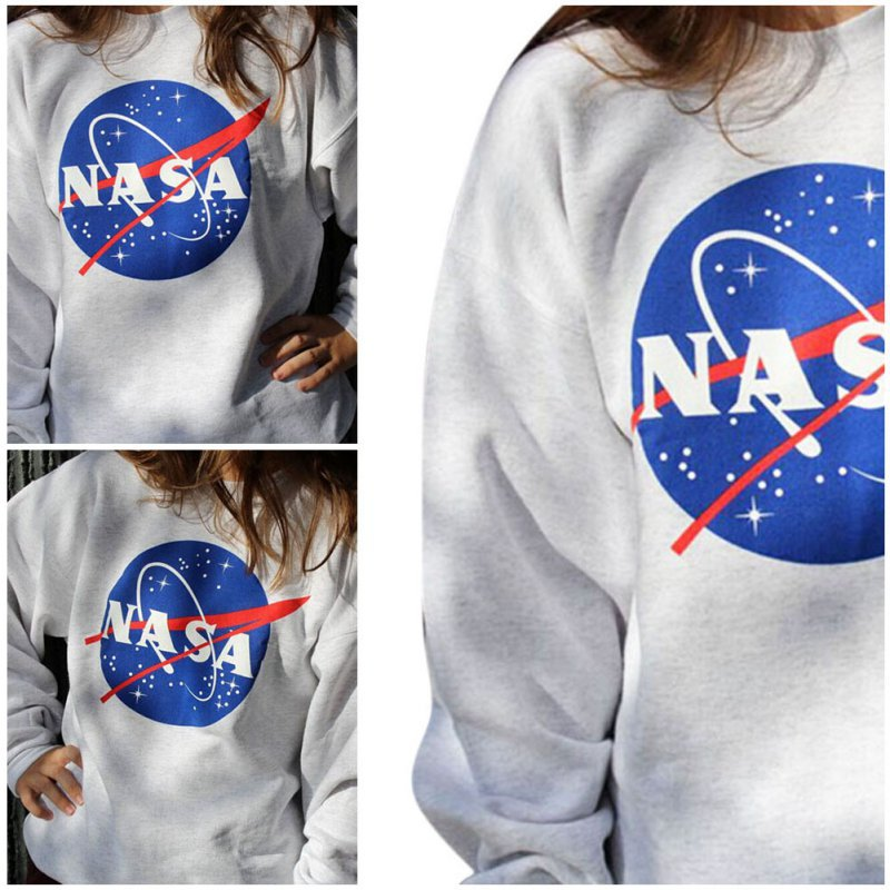 Ozhouzhan WOMEN'S Dress 2015 Autumn Clothing New Style NASA Printed Letter Loose-Fit Pullover Plus Velvet Hoodie Women's 1110