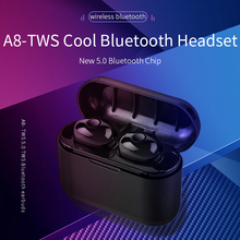 TWS A8 Bluetooth Earphone Bluetooth 5.0 Wireless Headset Sport Ear Stereo Cordless Earbuds IPX-5 Waterproof with Charging box new bluetooth earphone port cordless wireless 3d earbuds stereo in ear bluetooth 5 0 ipx8 waterproof wireless ear buds earphone