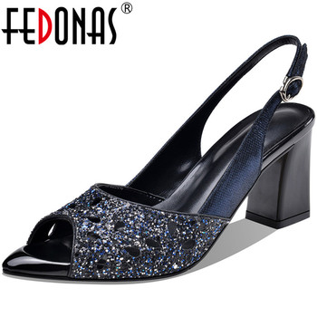 FEDONAS Famale Concise Genuine Leather Sandals Women Open-Toed High Heels Pumps Brand Design Summer Casual Party Shoes Woman