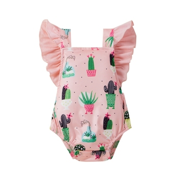 Baby Girl Clothes Bodysuits Cute Cactus Printed Flying Sleeve Jumpsuit Newborn Infant Girls Summer Cotton Clothing
