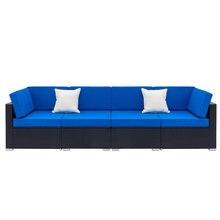 Полностью оборудованный плетеный диван из ротанга с 2 шт угловыми