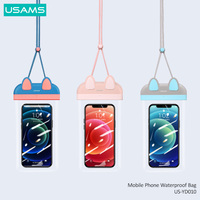 USAMS 7 inch Mobile Phone Waterproof Bag Floating Airbag Swimming Bag Pouch Phone Protective Case For Surfing Diving Beach Use