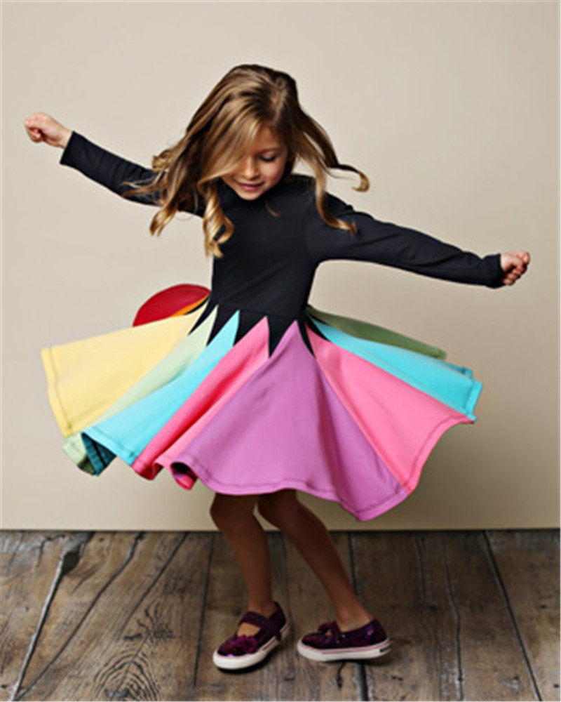 Baby Girl Dresses Rainbow  Long Sleeve Princess Girls Dress Toddler Kids Princess Clothes Colorful Party Dresses
