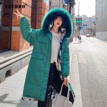 Женская зимняя куртка с меховым капюшоном длинная парка двустороннее
