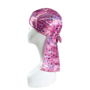 Image 4 - Children Silk Long Tail Pirate Hat Headscarf Hip Hop Cap Bandana Turban Headwear Boys Hip Hop Cloak Hat Hair Accessories