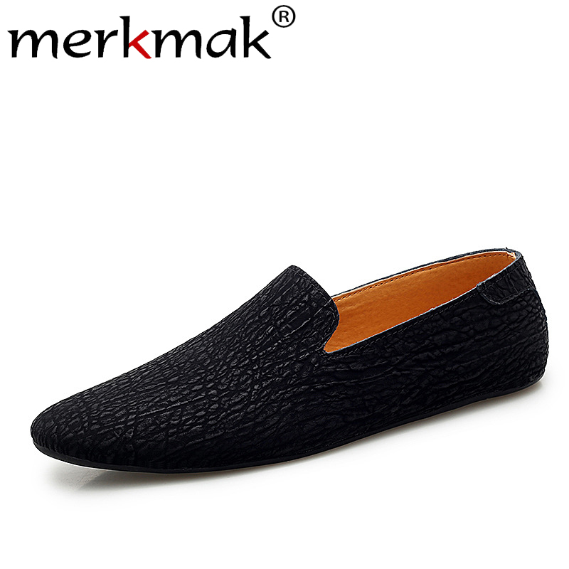 Men Shoes Flats Round-Toe Comfortable Big-Size Genuine-Leather Fashion Merkmak Loafers