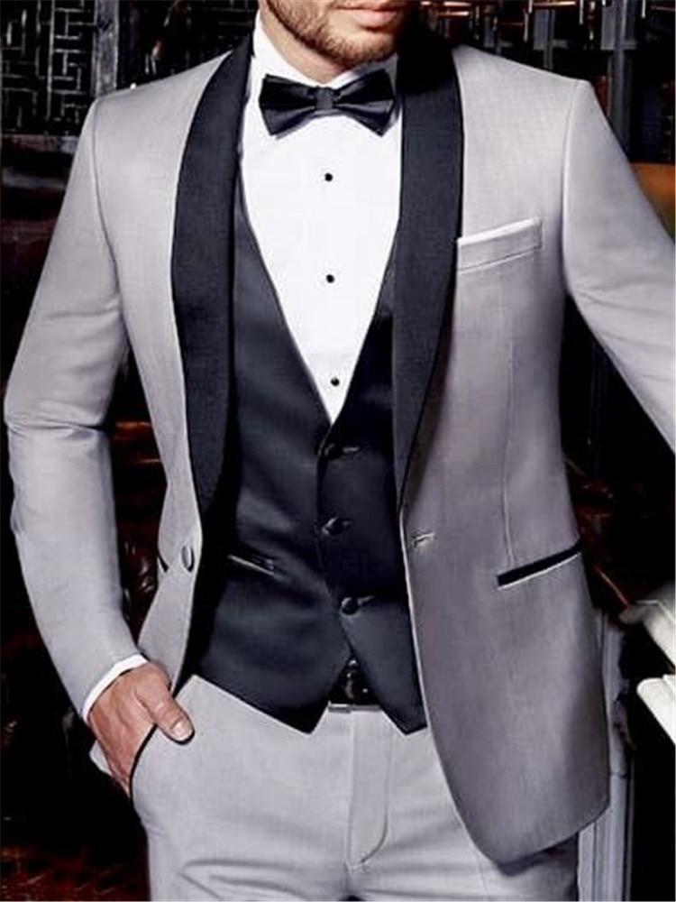 Bespoke Tuxedos Groom Wedding Suits For Men Slim Fit Grey Suits Men Black Shawl Lapel Costume Homme Mariage Best Man Blazer 3 Pc Suits Aliexpress